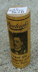 EARLY RAWLEIGH'S VEGETABLE  CARTHARTIC AND LIVER PILLS WOODEN VIAL (MEDICAL)