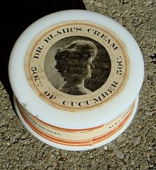 DR. BLAIR'S CREAM OF CUCUMBER MILK GLASS JAR/CONTENTS-PRETTY LADY