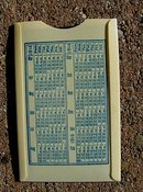 SHULTS BREAD CELLULOID STAMP(?) HOLDER/CALENDAR-1914