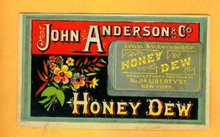 JOHN ANDERSON & CO HONEY DEW TOBACCO TRADE CARD