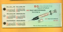 B-D PRODUCTS CELLULOID BLOTTER-MEDICINAL -1944 CALENDAR