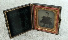 LITTLE GIRL AMBROTYPE IN LEATHERETTE CASE