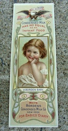 BORDEN'S CONDENSED MILK BOOK MARK-EARLY