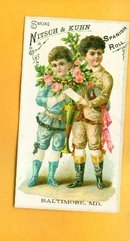 NITSCH & KUH SPANISH ROLL TOBACCO TRADE CARD-CHILDREN IMAGE;CIGAR ADVERTISING