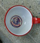 NOT-NAC WHITE GRANITEWARE LADLE WITH RED TRIM/HANDLE - INDIAN IMAGE