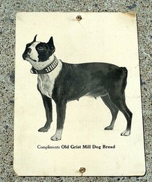 OLD GRIST MILL DOG BREAD ADVERTISING SIGN-BOSTON TERRIER IMAGE