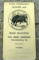 BERG'S GUANOS & BONE MANURES CELLULOID  PAD WITH 1905 CALENDAR/PRODUCT ADVERTISING