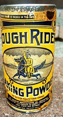 ROUGH RIDER BAKING POWDER TIN-UNOPENED-TEDDY ROOSEVELT IMAGE