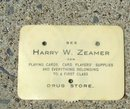 HARRY W. ZEAMER'S DRUG STORE CELLULOID BRIDGE SCORE COUNTER