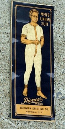 UNUSUAL ADVERTISING CELLULOID BLOTTER-MEN'S UNION SUIT