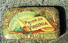 PRIDE OF VIRGINIA HORIZONTAL ROUND CORNERED CUT PLUG TOBACCO TIN