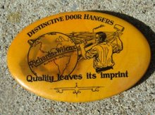 RICHARD WILCOX DOG HANGER ADVERTISING CELLULOID PUMICE STONE