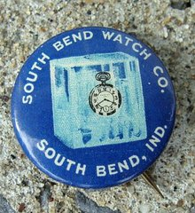 SOUTH BEN WATCH CO ADVERTISING CELLULOID PINBACK-GRAPHIC
