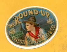 THE ROUND-UP CIGAR BOX LABEL-COWBOY  IMAGE SMOKING