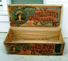 RARE UNITED STATES  5 'S CIGAR BOX-PRETTY LADY IMAGES