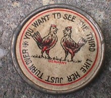 EARLY MIRROR WITH ROOSTER & CHICKEN ON ONE SIDE