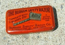 THE BURHAM SAFETY RAZOR TIN-EMPTY
