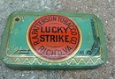 FLAT LUCKY STRIKE TOBACCO TIN-ROUND CORNERS