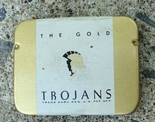 THE GOLD TROJANS CONDOM TIN
