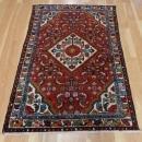 Wool Vintage Rug 3' 3 x 4' 10 Red Hamedan Oriental Rug