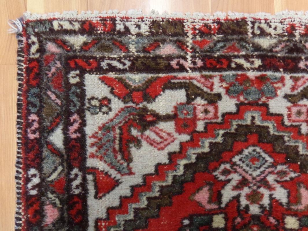 Vintage Rug Red Wool Oriental Rug 2' 5 x 3' 11 Authentic Vintage Hamedan Area Rug