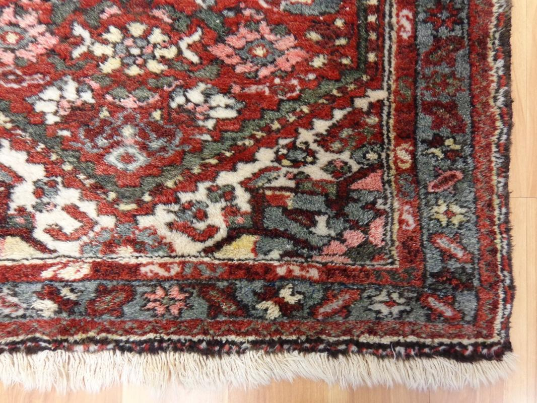 Wool Hand Knotted Rug 2' 6 x 4' 1 Red Vintage Hamedan