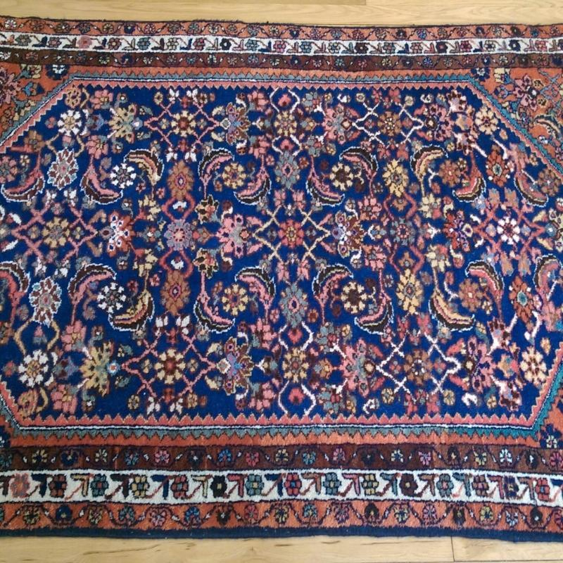Blue Vintage Rug 3' 7 x 4' 9 Hamedan