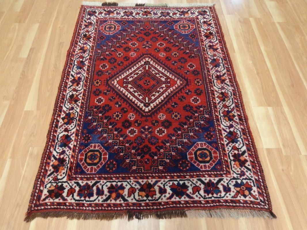 Tribal Boho Decor Vintage Rug Wool Blue Oriental Rug 3' 11 x 5' 8 Shiraz