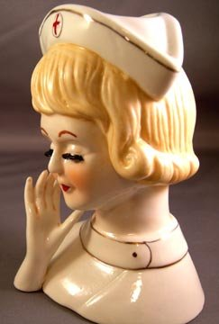 Red Cross Nurse Head Vase
