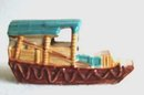 Vintage Pottery Aquarium Ornament Japanese Boat