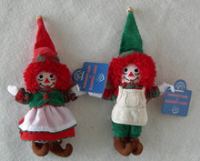 Raggedy Ann and Andy Christmas Elf  Ornaments