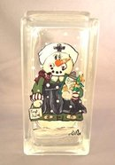 Hand Painted Snow Woman Nurse Glass Brick