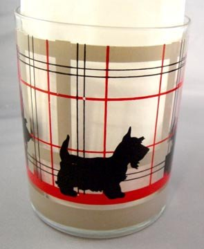 Pair of Unusual Scottie Dog High Ball Glasses