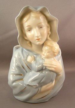 Vintage Blond Madonna and Infant Head Vase Planter