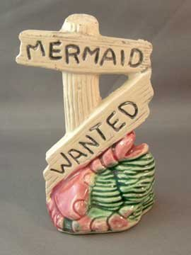 Older Aquarium Ornament Mermaid Wanted Sign