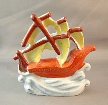 Vintage Aquarium Ornament Sailing Ship