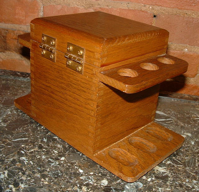 Oak Arts and Crafts Humidor Pipe Stand