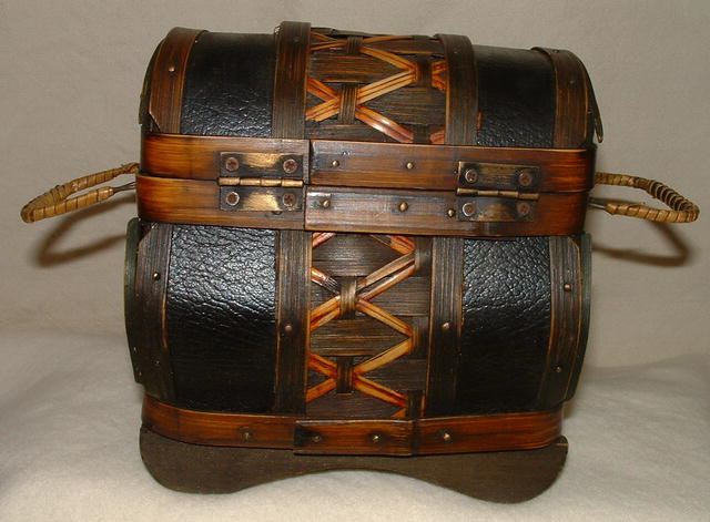 Wicker, Wood, and Leather Decorative Box