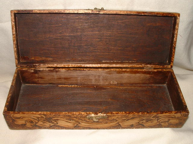 Antique Flemish Art Pyrography Glove Box