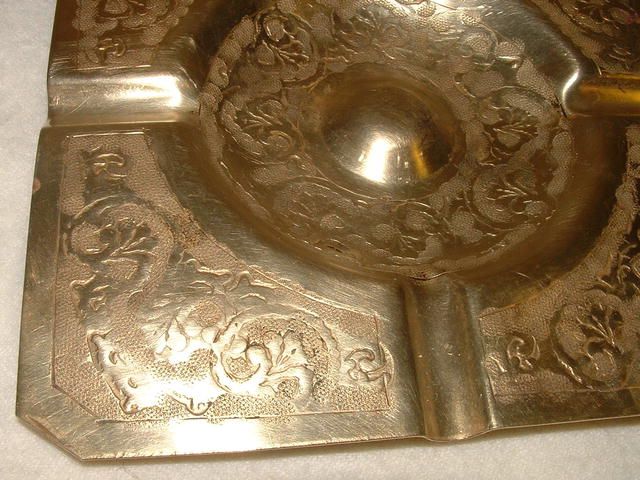 Antique Engraved Brass Square Ashtray