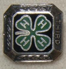 Vintage Sterling Silver & Enamel 4-H Pin