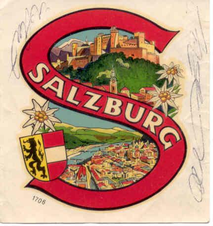 Vintage Salzburg Austria Souvenir Window Decal