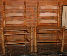 Unusual Pair of Antique Primitive Maple Side Chairs