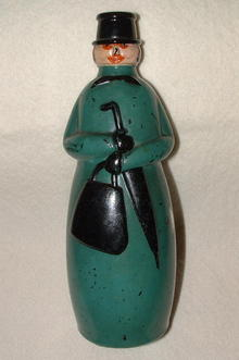 Unusual Antique Painted Bottle - Woman with Umbrella