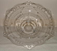 Vintage / Antique Etched Glass Footed Bowl