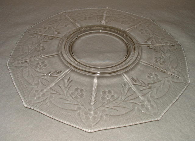 Antique Cambridge Etched Glass 10-Sided Plate