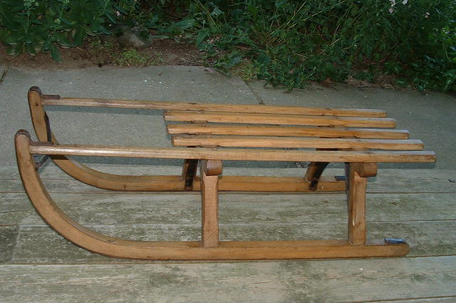 Antique Swiss Davos Hickory & Iron Bentwood Sled / Toboggan