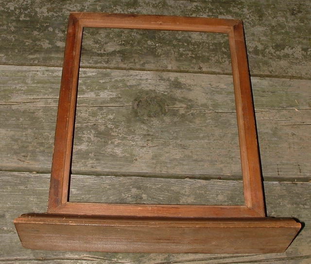 Antique Primitive 8 x 10 Carved Wooden Frame on Stand