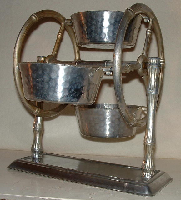 Vintage Hammered Aluminum Ferris Wheel Server
