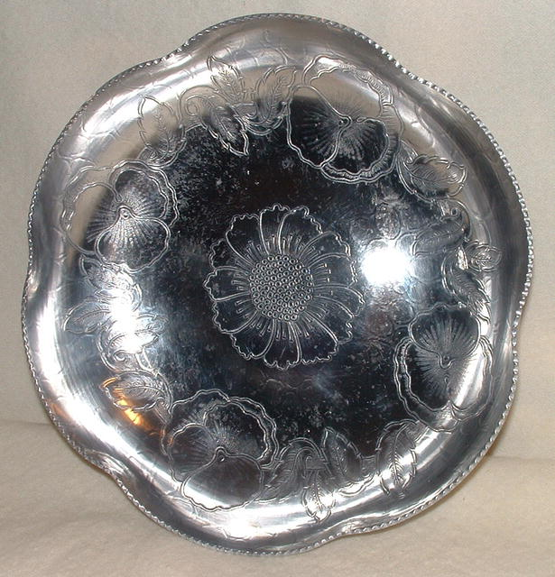 Antique Hand-Wrought Aluminum Scalloped Dish with Pansy Design